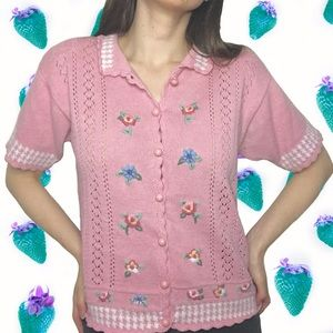 Vintage Pink Sweater Embroidered Flowers Buttons